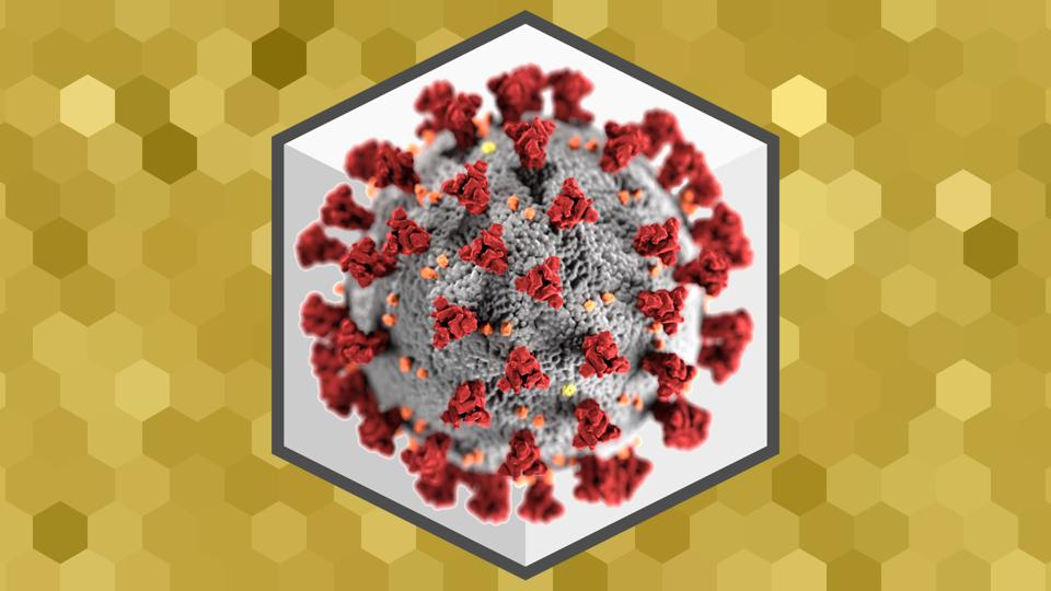 Illustration based on an electron microscope image of SARS-CoV-2.