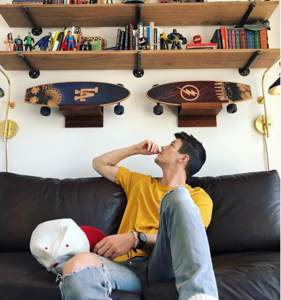 Grant Gustin's ″LA″ and ″Flash″ custom Bear Walker skateboards.