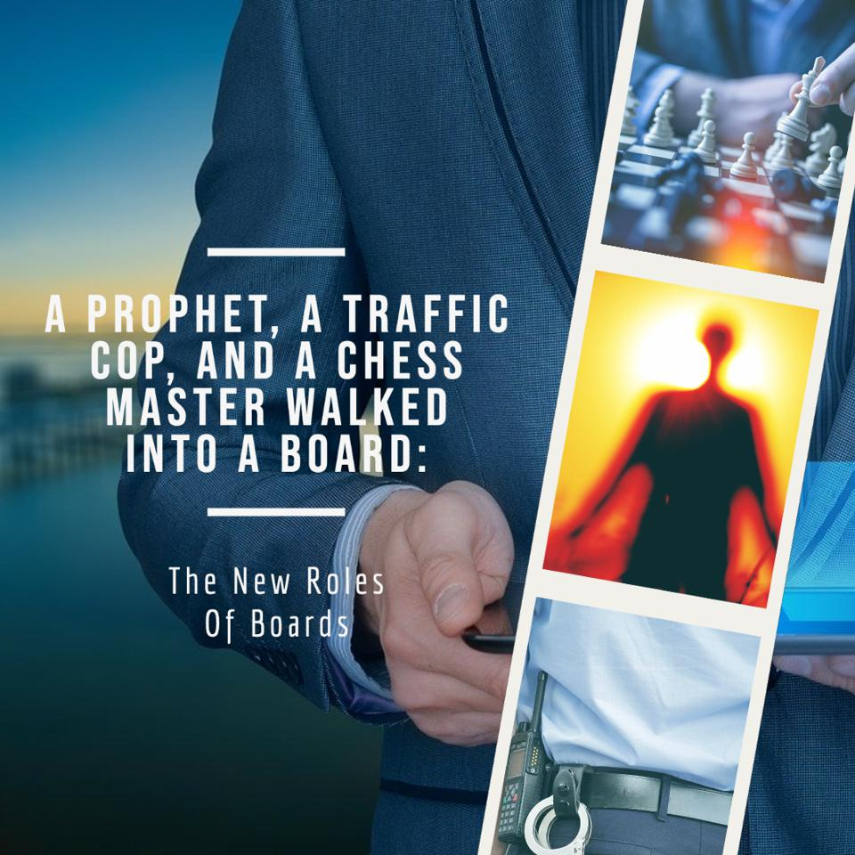 a chess board with a chess master, a traffic cop, and a prophet