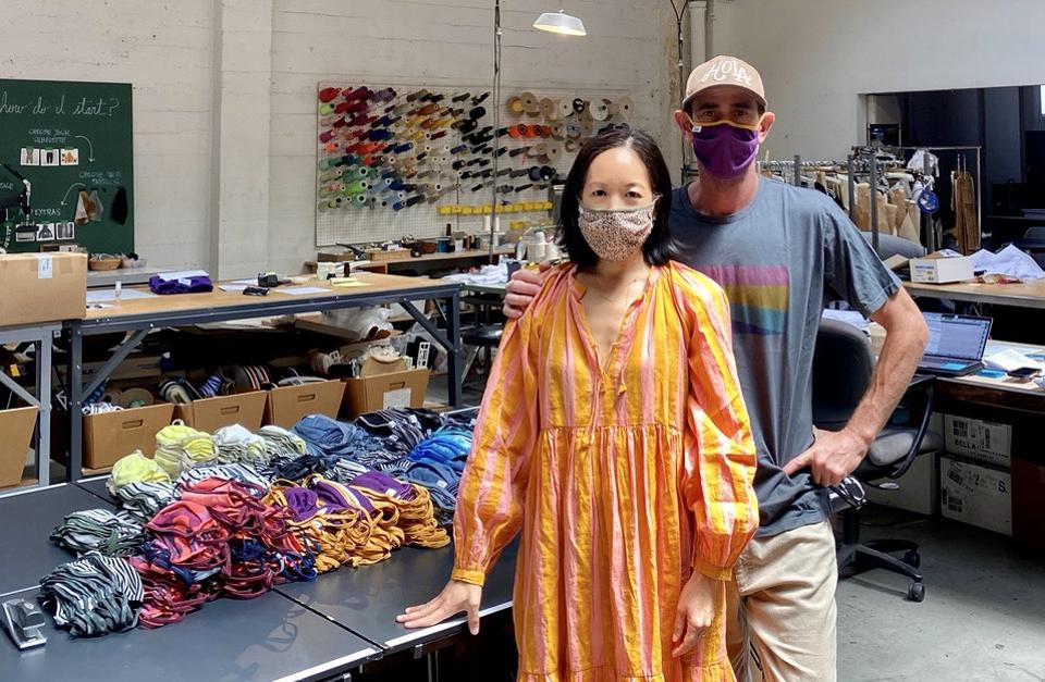 House of Woo founders Staci Woo and Mike Badt stand in their downtown Los Angeles shop.