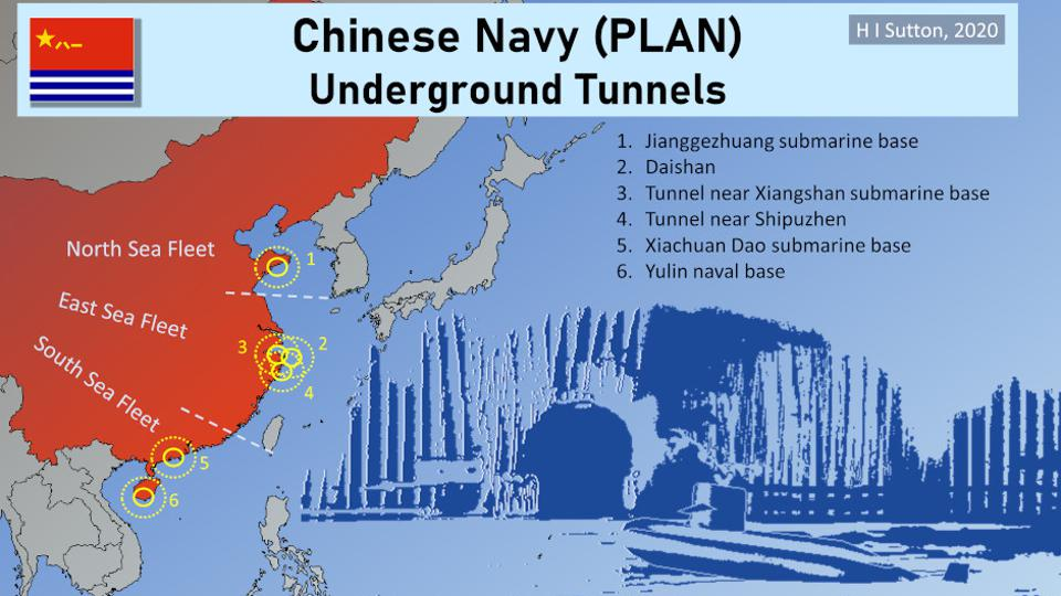 Map showing notable Chinese Navy (People's Liberation Army Navy / PLAN) underground submarine tunnels