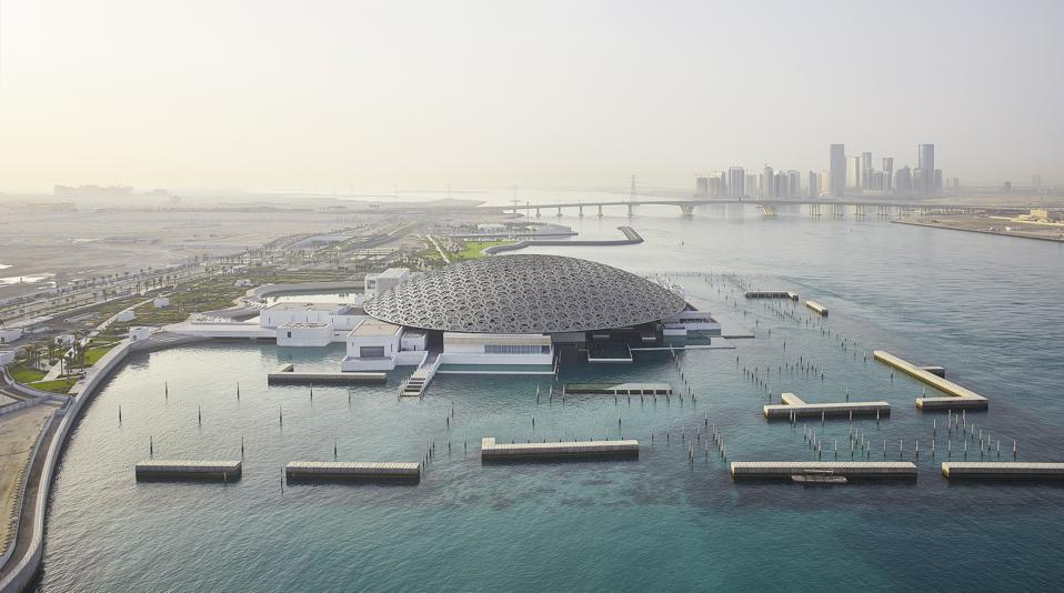 The exterior view of the Louvre Abu Dhabi.