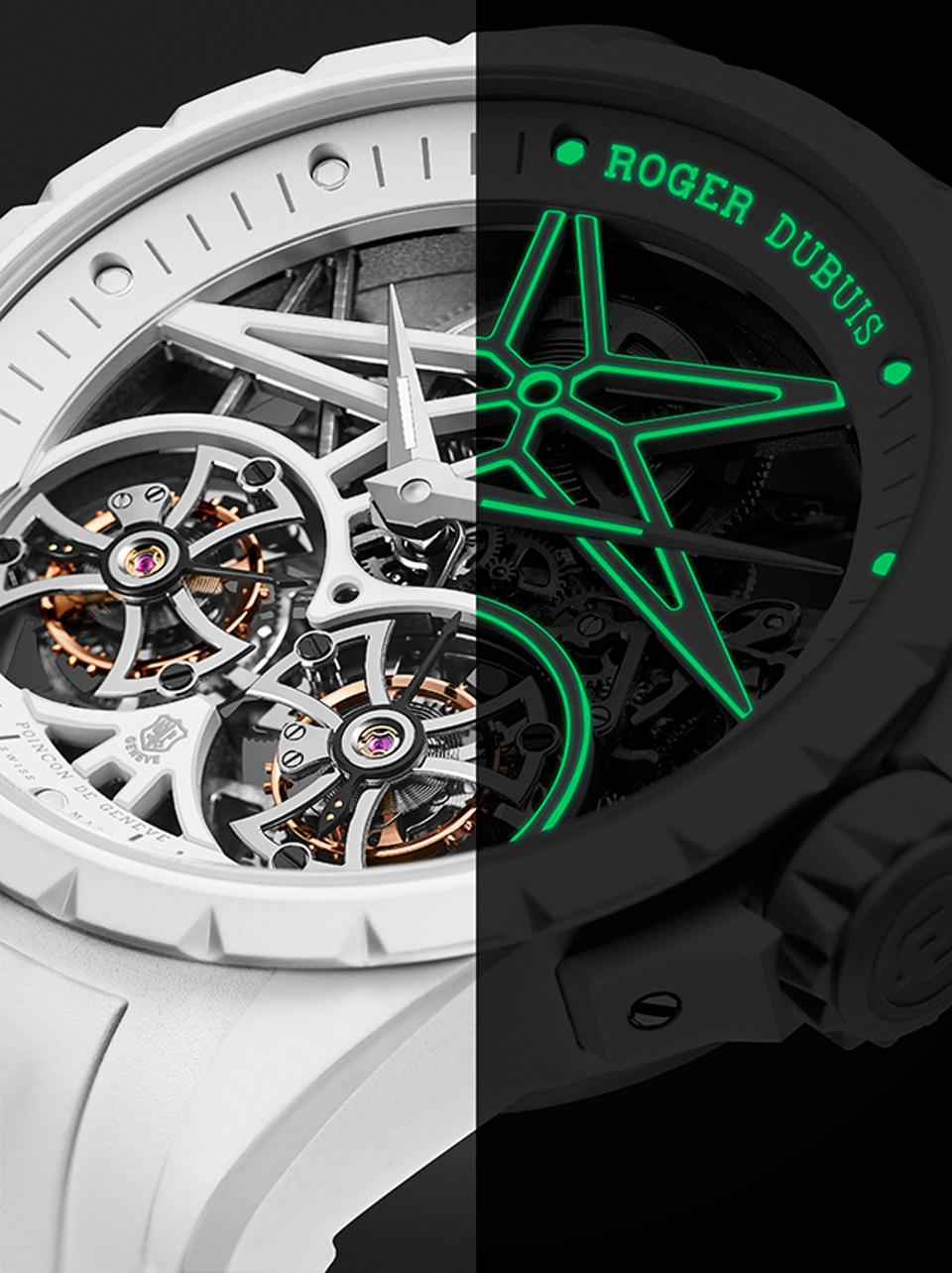 The Roger Dubuis Excalibur Twofold glows spectacularly in the dark and stays super white in the daytime.