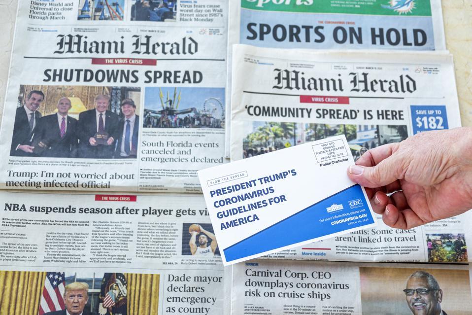 President Trump's Coronavirus guidelines and news headlines, Pandemic 2020