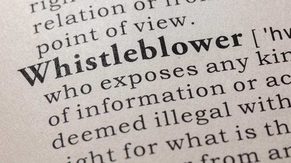 The definition of Whistleblower, found in a dictionary