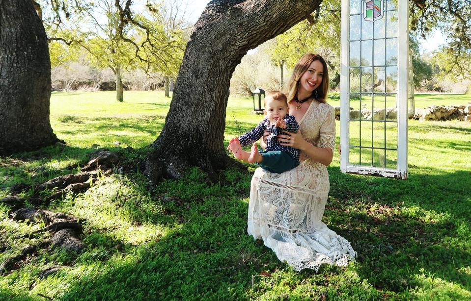 Emma Spivey with her son River