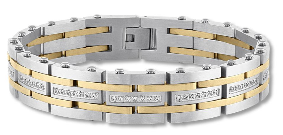 Kay Jewelers Men's Diamond Bracelet ½ ct tw Stainless Steel/Ion-Plating.
