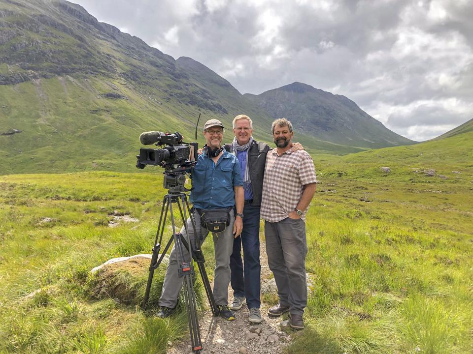 Rick Steves with cameraman Karel Bauer and  producer Simon Griffith.