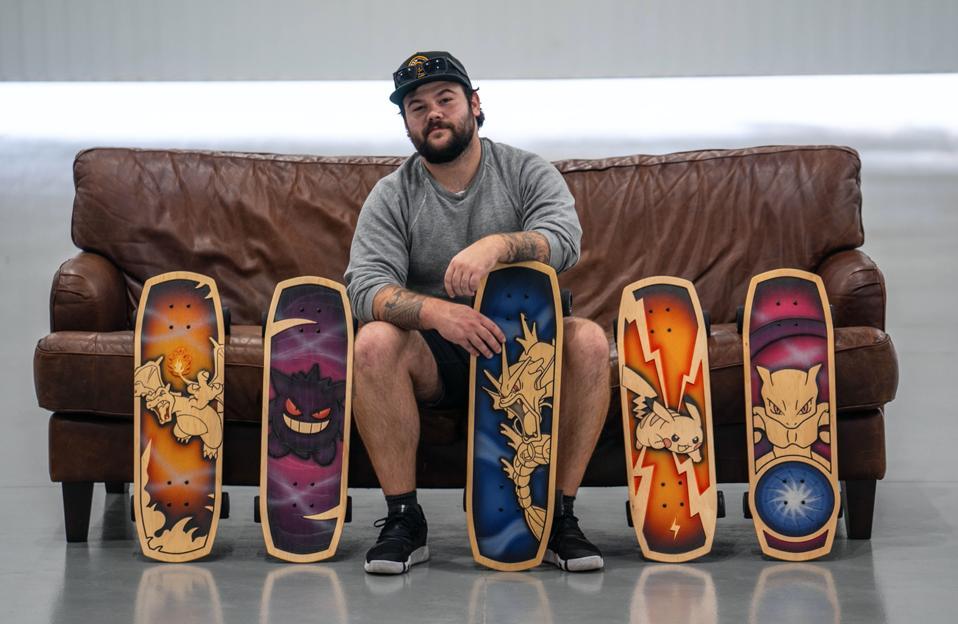 Bear Walker with his Pokemon line of Bear Walker skateboards