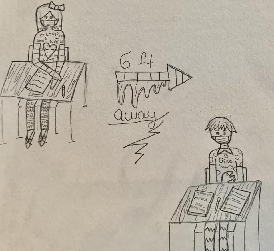 Kids sitting at desks 6 feet apart