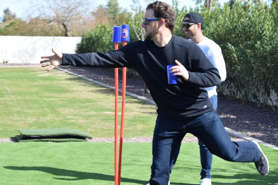 Los Angeles Angels pitcher Matt Andriese playing CupCheck.