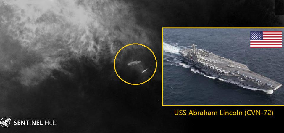 USS Abraham Lincoln Aircraft Carrier on commercial satellite image - OSINT, IMINT