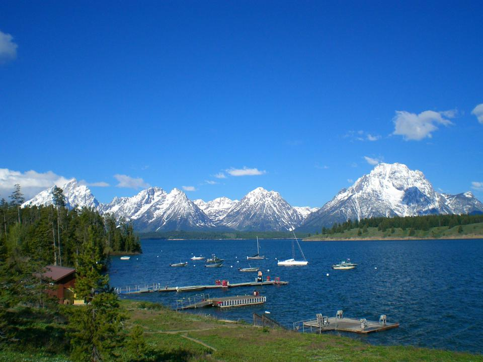 Signal Mountain Lodge inside Grand Teton National Park with a view of the mountains and the marina.