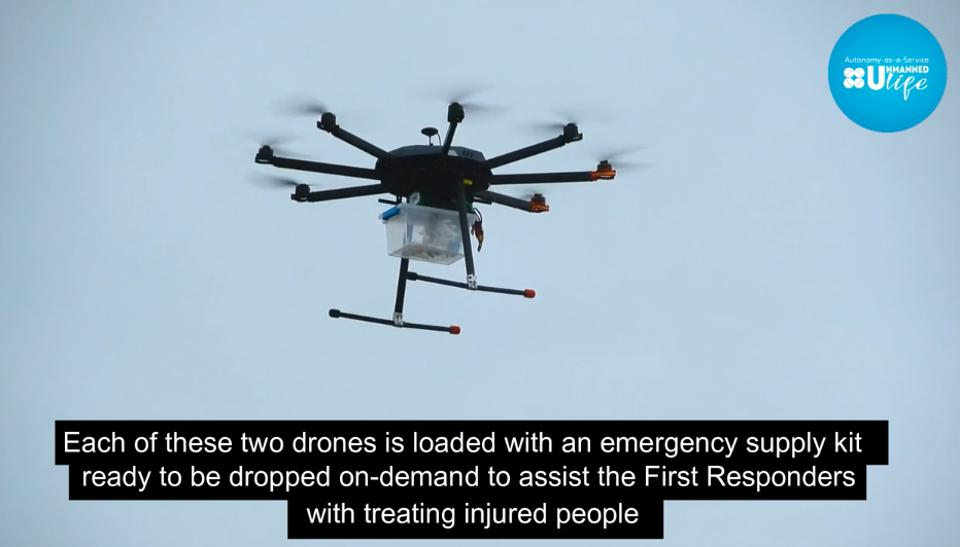 A screenshot of one of Unmanned Life's autonomous rescue drones in action.