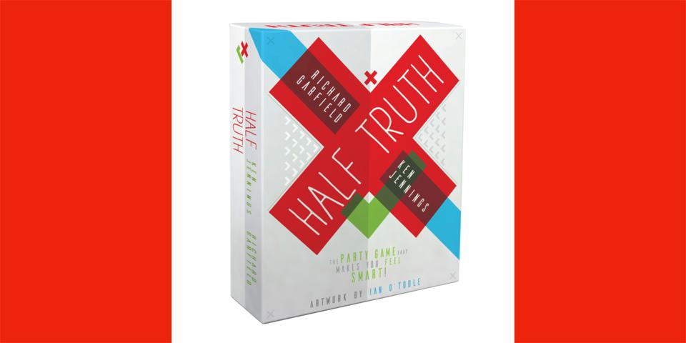 Half Truths board game horizontal shot of box for web