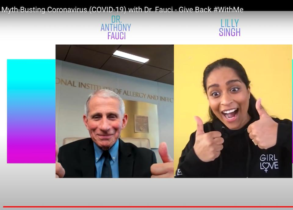 In a popular YouTube video, UNICEF Goodwill Ambassador Lilly Singh spoke with Dr. Anthony Fauci, Director of the National Institute of Allergy and Infectious Diseases, about how to stay safe from the novel coronavirus, and how to separate fact from fiction.