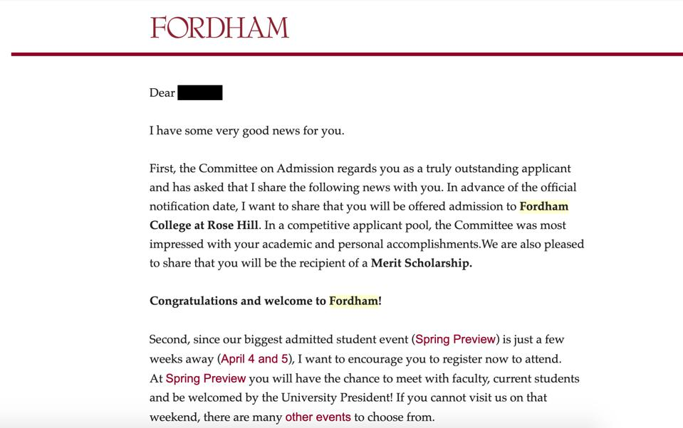 Acceptance letter to Fordham