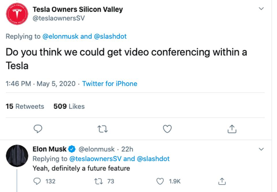 A screenshot from Twitter with Elon Musk's reply to a question about video conferencing in a Tesla