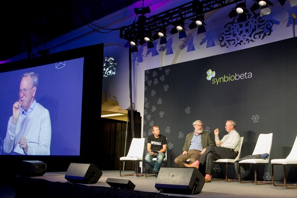 Eric Schmidt in conversation with George Church and John Cumbers at SynBioBeta 2019.