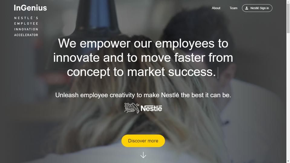 At Nestlé, ″InGenius″ serves as a crowdsourcing platform where employees collaborate and grow ideas into tangible business opportunities.