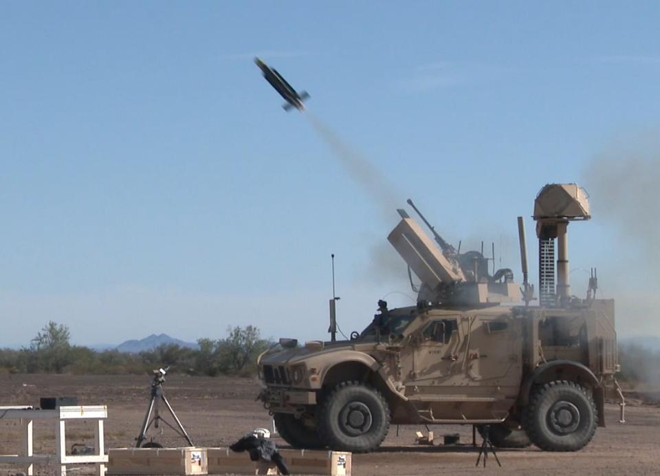 A military vehicle launches an intrceptor drone