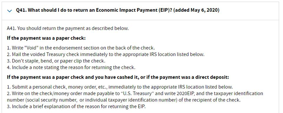Instructions on how to return a stimulus check to the IRS