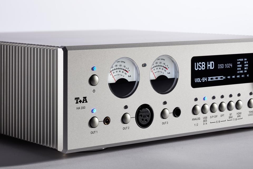 Close-up shot of T+A HA-200 headphone amplifier