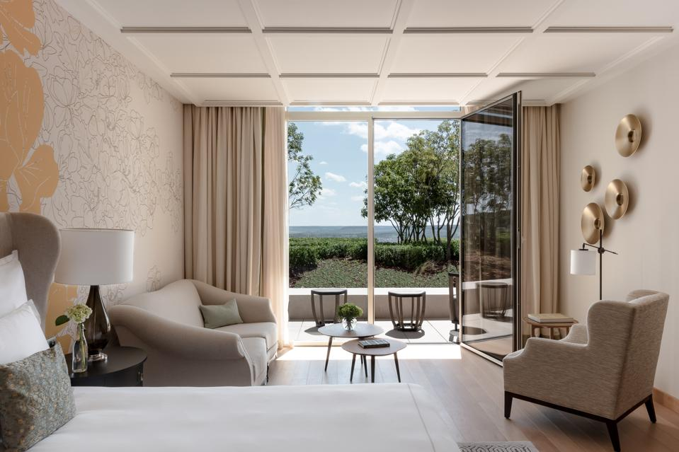 Guest room with a view of the Champagne vineyards below