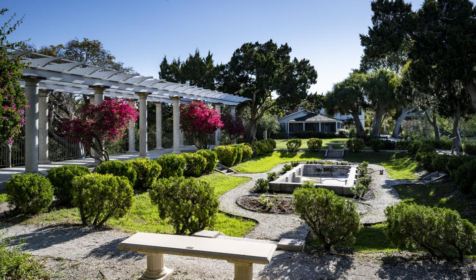 Sunken Gardens and pergola at Selby Gardens Historic Spanish Point Campus.
