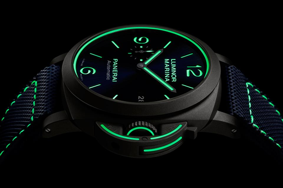 The Panerai Luminor PAM1117 is newly illuminated beyond the dial.