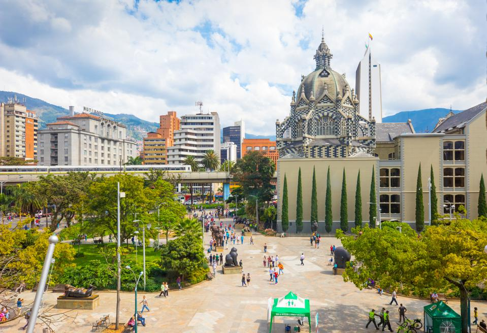 Botero square seen from the Museum of Antioquia, Medellin.