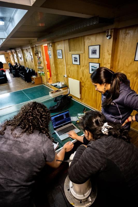 Scientists configure equipment during Scientific Antarctic Expedition in January 2020