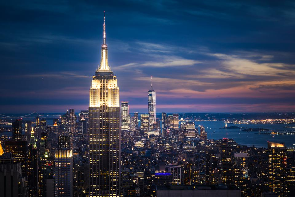 Empire State Building and New York City Skyline at Night