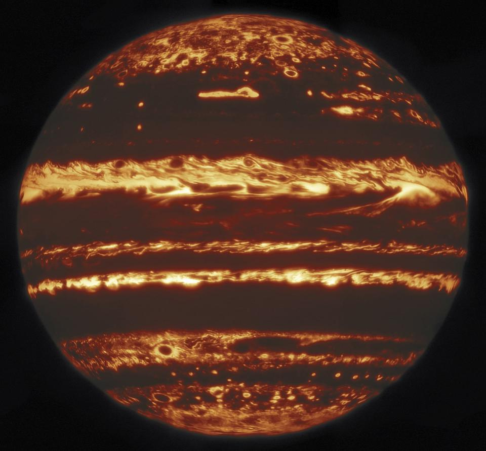 This image showing the entire disk of Jupiter in infrared light was compiled from a mosaic of nine separate pointings observed by the international Gemini Observatory, a program of NSF's NOIRLab on 29 May 2019.