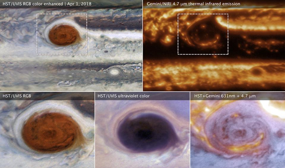 These images of Jupiter's Great Red Spot were made using data collected by the Hubble Space Telescope and the international Gemini Observatory on 1 April 2018. By combining observations captured at almost the same time from the two different observatories, astronomers were able to determine that dark features on the Great Red Spot are holes in the clouds rather than masses of dark material.
