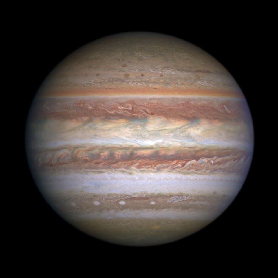 This natural-color (visible light) image of Jupiter was captured by Hubble's Wide Field Camera 3 on May 19, 2017. This image was taken to coincide with the Juno spacecraft's sixth flyby of Jupiter (Perijove 6, or PJ 6). Wide-field imagery is used to provide context for Juno's much closer, more detailed observations.