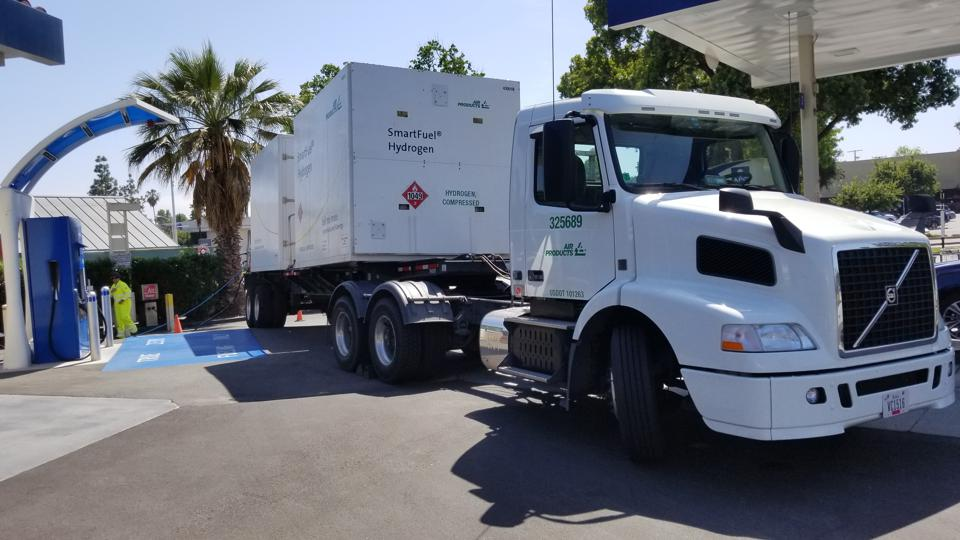 A Volvo diesel truck is delivering hydrogen to  the hydrogen fueling station in South Pasadena, California, USA. Hopefully, in the future it would be a fuel cell powered vehicle.