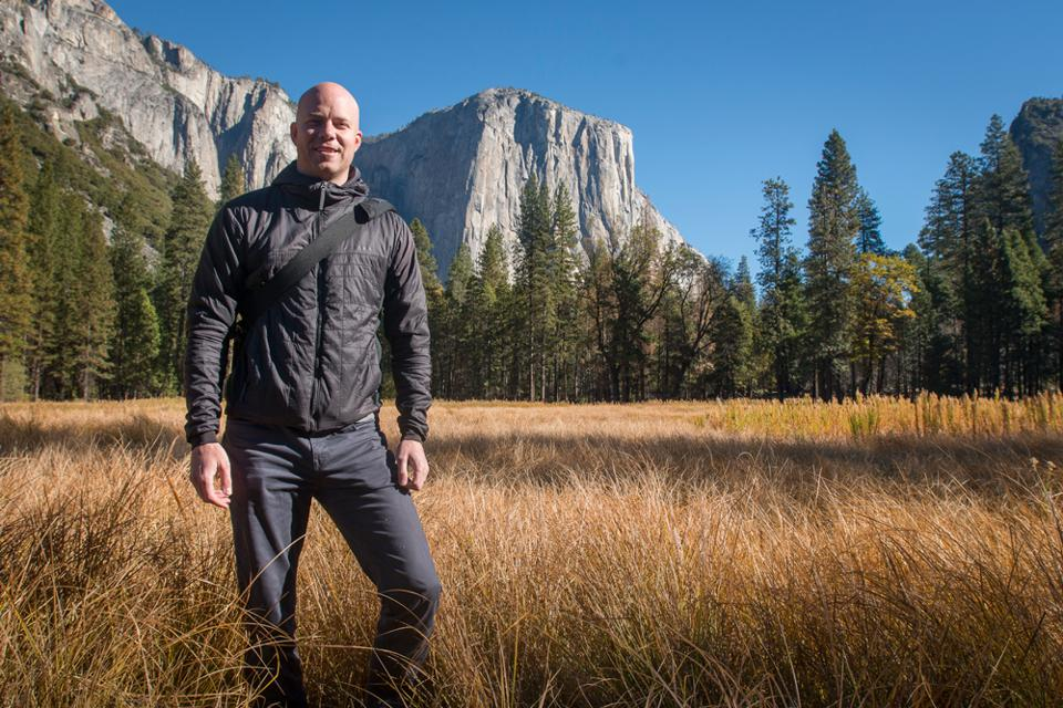 Picture of Davis Smith, CEO of Cotopaxi, at Yosemite National Park