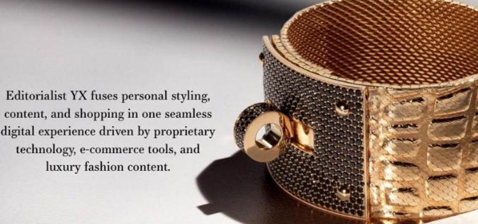 Brand marketing image from EditorilistYX website showing a rose gold pavé crystal bracelet