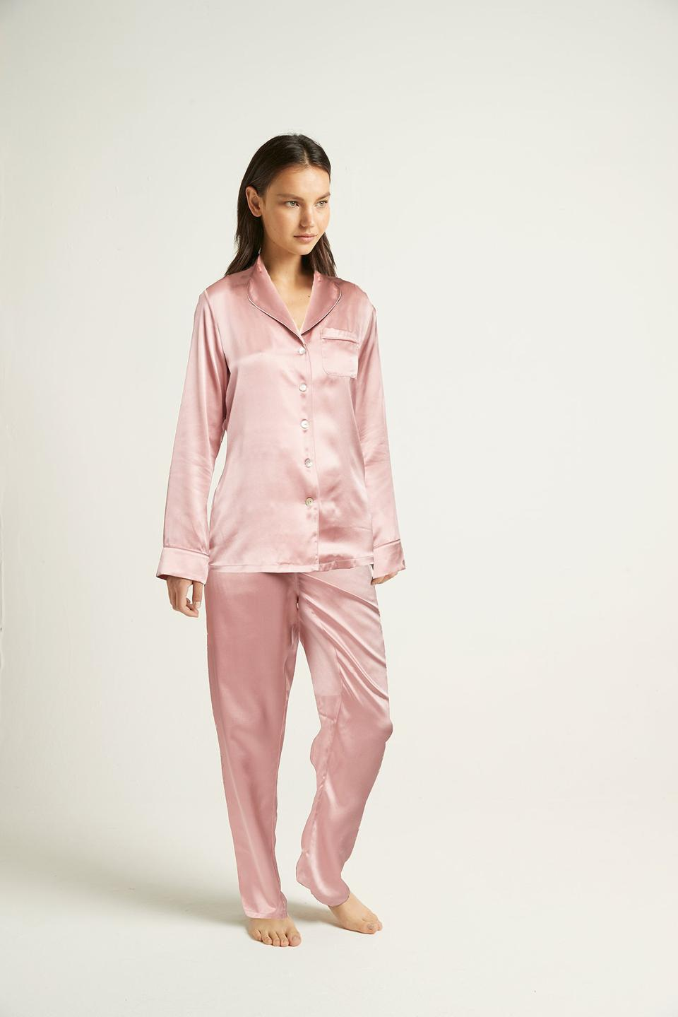 The Ginia silk pajamas in Canyon Rose.