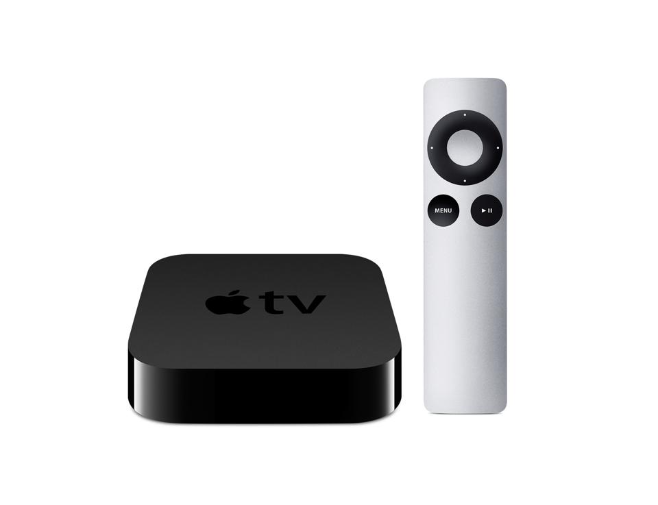 The earlier, third-gen Apple TV with its cool aluminum remote.