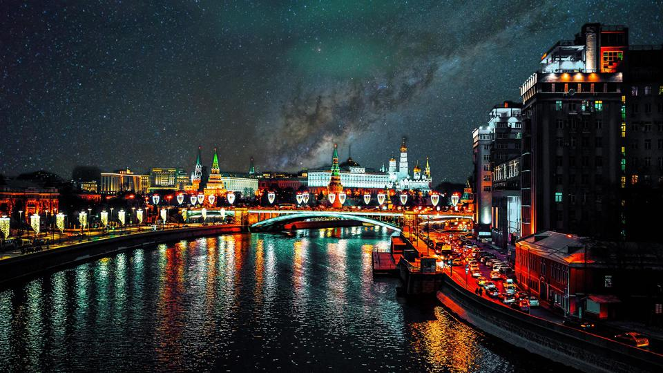 Moscow as it could be without light pollution – NOT a real photo!