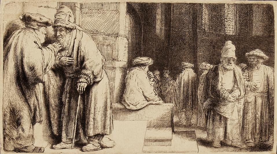 Rembrandt Harmenszoon van Rijn etchings on display at the Elverhoj Museum of History & Art, in Solvang, CA: 'Jews in the Synagogue' Etching and drypoint on laid paper, 1648.