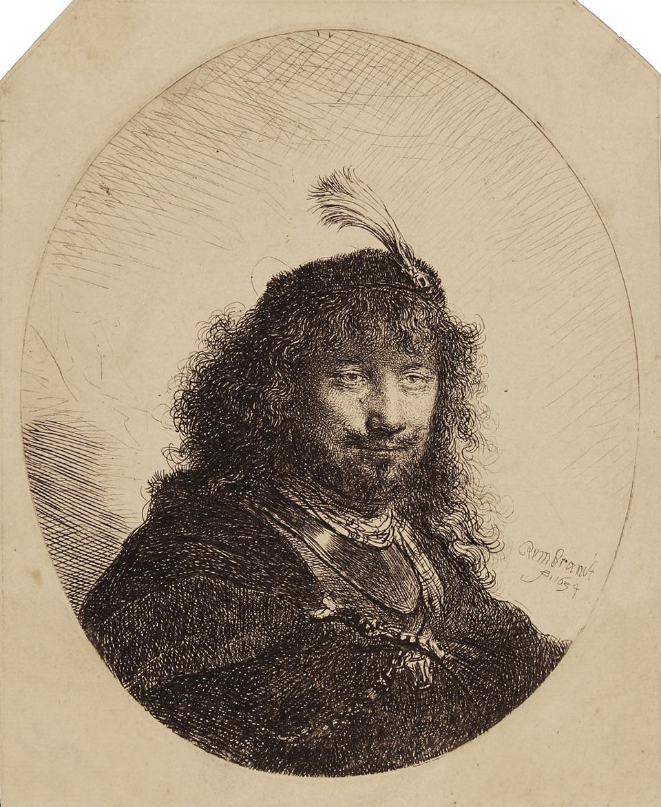 Rembrandt Harmenszoon van Rijn etchings on display at the Elverhoj Museum of History & Art, in Solvang, CA: 'Self-Portrait with Plumed Cap and Lowered Sabre.' Etching on paper, 1634.