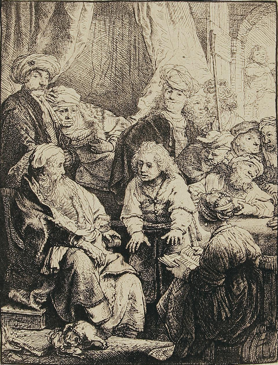Rembrandt Harmenszoon van Rijn etchings on display at the Elverhoj Museum of History & Art, in Solvang, CA: 'Joseph Telling His Dreams.' Etching on laid paper, 1638.