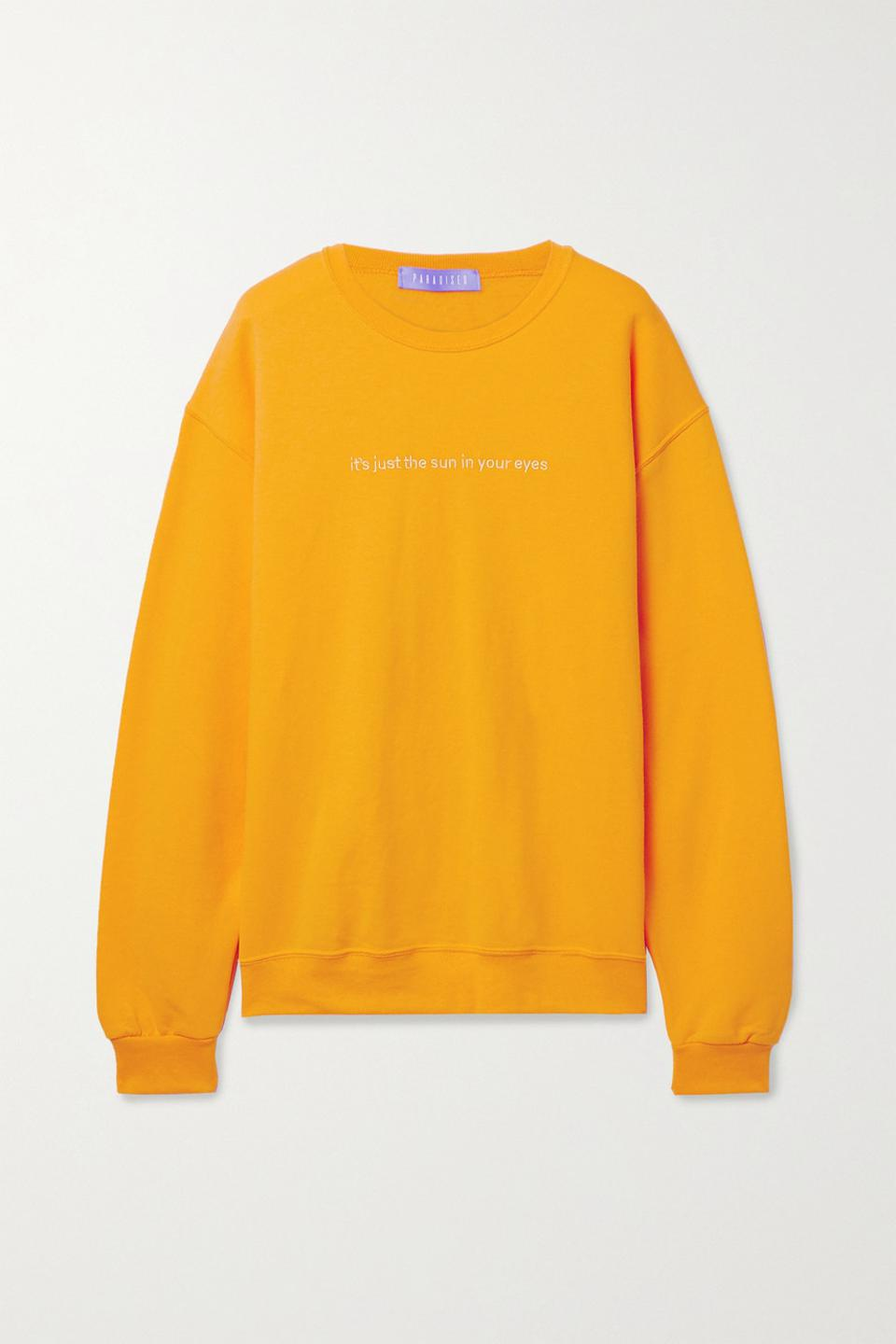 Paradised_Sun In Eyes embroidered cotton-blend jersey sweatshirt_$165