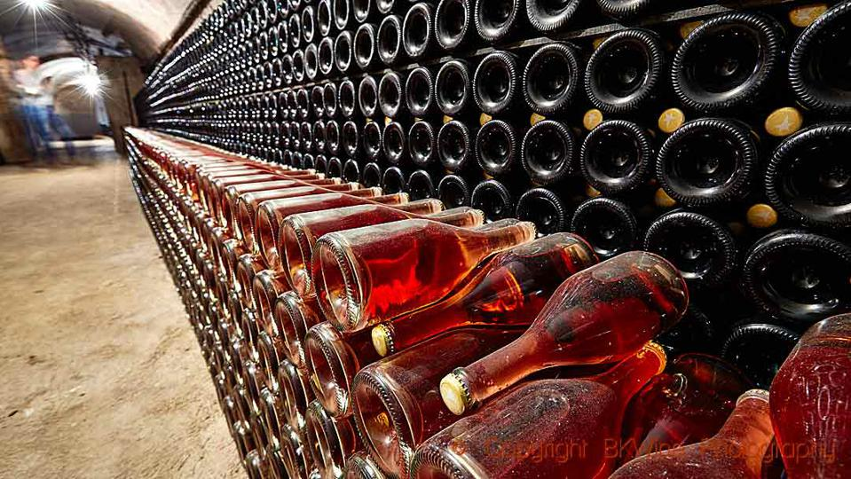 Bottles ageing in a cellar in Champagne