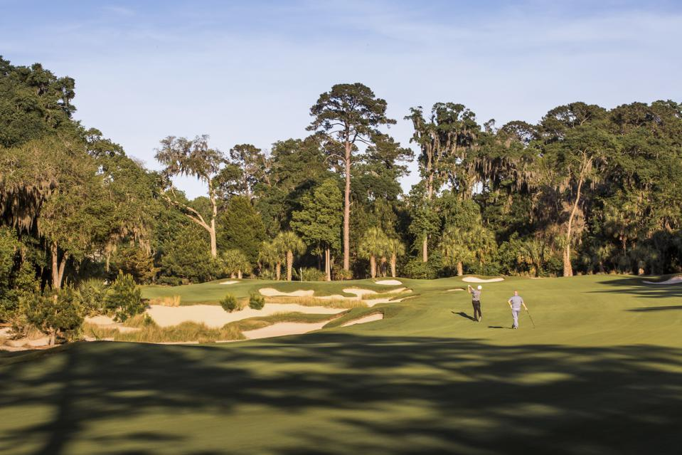 The May River Golf Course (seen above) is a Jack Nicklaus Signature Course that was designed specifically for the coastal weather of the location. The scenic par-72 course is nearly 7,200 yards in size and features century-old oaks and serene native landscapes.