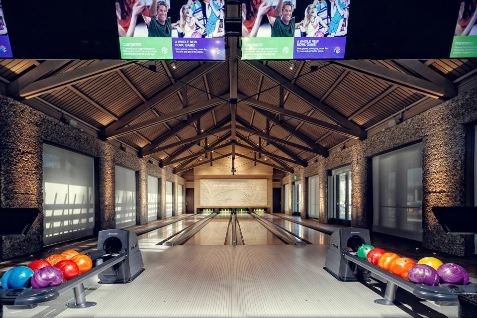 The Boundary in Moreland Village is an amenity space with a four-lane, state of the art bowling alley and game room equipped with pool tables, foosball and shuffleboard tables, board games and card tables.