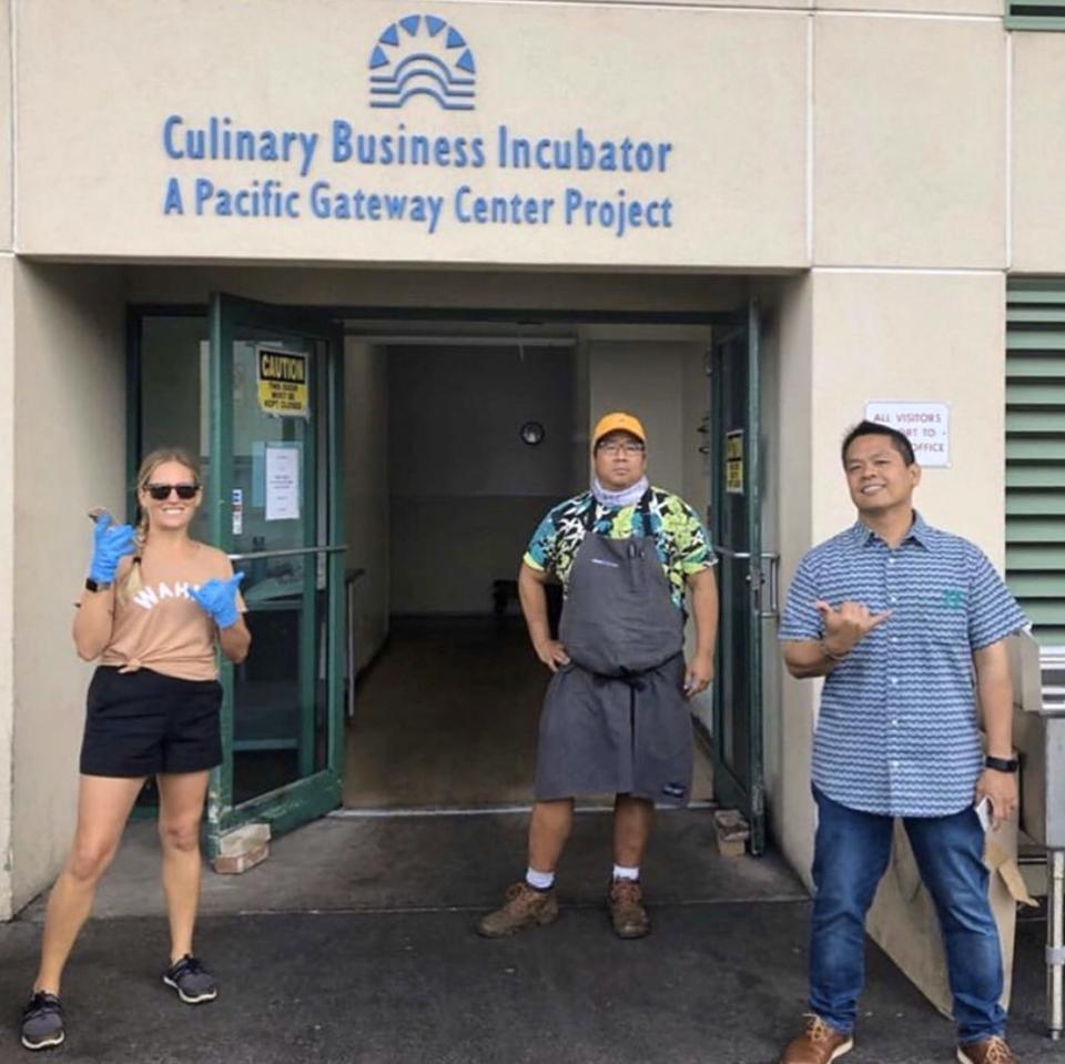 Founders of Chef Hui Amanda Corby Noguchi (left) and Mark ″Gooch″ Noguchi (middle) with Executive Director for Aloha Harvest ″Phil″ Augustus Acosta at Pacific Gateway Center